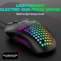 M5 Hollow- out Honeycomb Shell Gaming Mouse Colorful RGB Back...