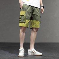 Patchwork Homens Shorts Verão descontraído High Street Roupa Hip Hop Mens Carga calças soltas Big bolso