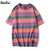 BOLUBAO Marka Erkekler Tişörtler Moda Trend Yeni T Gömlek Nötr Stil Casual Erkek High Street Çiftler Şerit T Gömlek Erkek