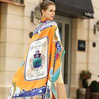 100٪ حك الحرير وشاح المرأة يورو الأزياء نزهة باريس طباعة طرحة ساحة يلف العصابة العلامة التجارية هدية فاخرة كبيرة شال الحجاب T200729