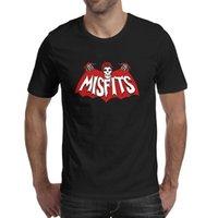 Moda Mens Art Crânio Show Misfits Preto Pescoço Redondo T Camiseta Engraçado Impressionante Camisas The Patches Stencil Fantasma Punk Gothic Misfits Horror