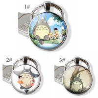 Manga del animado llavero de metal Mi vecino Totoro cristal de la bóveda cabujón Studio Ghibli Satsuki Mei Tatsuo Yasuko Gatobús anillo dominante de regalo