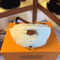 couro genuíno de alta qualidade em 2020 Bumbag Fannypack Purse Bag L M55425 Flor Tedy Lambswool cinto Bag Moda Bolsa