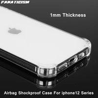 Temizle Kılıf iphone 12 12pro 12mini iPhone12 Pro Max Yumuşak TPU Hava Yastığı Anti-Vuruş Telefon Kılıfları 1mm Ince Silikon Arka Kapak