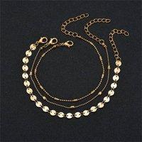 perles pièces d'or de la couche multi-femmes chaîne de cheville plage d'été Wrap au pied de la chaîne des bijoux de mode pied bracelet et cadeau de sable