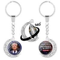 الرئيس ترامب سلسلة المفاتيح ضعف الجانب الروتاري نصف القمر الحلي الولايات المتحدة ينتخبوا أقراط إبقاء أمريكا العظمى قلادة الإكسسوارات GGA3592