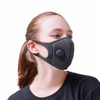 Siyah yüz maskesi toz maskesi Yeniden kullanılabilir maskeleri Bireysel nefes vana DHL Express Ücretsiz Kargo ile yıkanabilir maskeler paketlenmiş filtreler