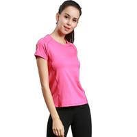 Спорт бегущий вокруг шеи короткого рукав обслуживание йоги фитнеса обслуживание T-рубашка женщин быстро высыхает дышащие 2017 новый