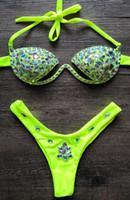 2020 Sexy Холтер неоновый зеленый кристалл Swimwear женщин Push Up бикини Rhinestone Алмазный Роскошные женщины купальников Плюс Размер