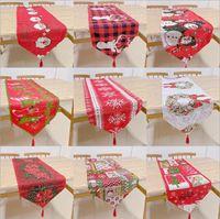 Noël Chemin de Table Imprimé napperon polyester coton mélangé Table Mat Décorations de Noël Taille Environ 33 * 180cm 17 Designs gros BT11