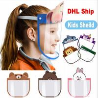 Cartoon Face Bambini Shields bambini trasparenti maschere di protezione antipolvere Anti-Fog Full Face scudo anti polvere antivento PET Mask FY8037