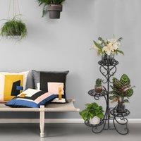 Bitki Dekor Dekorasyon Kapalı Açık Bahçe Için 4 Saksı Yuvarlak Çiçek Metal Raflar Siyah Moda Pot Standı ABD Stokta