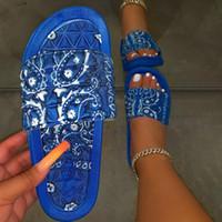 di Puimentiua donne Comfy Bandana Slip-On Pantofole scorrere pattini esterni di flip-flop della spiaggia di estate Toe Infradito antiscivolo 2020