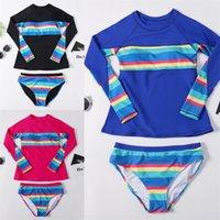 Stripe Stampa Donne Costumi da bagno Set maniche lunghe Kit costume da bagno Surfsuit Surfsuit Mutandine Conservative Abiti da bagno Maillot de Bain Bambini 40xN B2