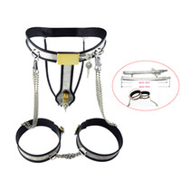 Acciaio inossidabile Chastity Belt dispositivo biancheria intima femminile con la catena di pantaloni Legcuffs giocattoli adulti del sesso verginità per le donne