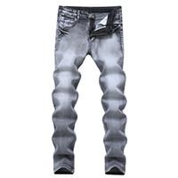 Erkek Jeans 2021 Vintage Gri Slim Fit Düz Denim Erkek Rahat Uzun Pantolon Retro Pantolon Marka Biker Boyutu 42