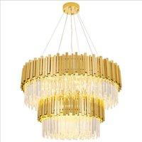 Современные Хрустальные потолочные люстры освещение 2 слоя Ellipse золото LED люстры Роскошные украшения светильники для домашнего ресторана