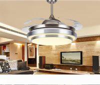 """31 8 9"""" Современный хром круглый светодиодные потолочные вентиляторы Свет со складывающимися Невидимыми Лезвиями 100-240 невидимыми потолочных вентиляторами светодиодных ламп"""