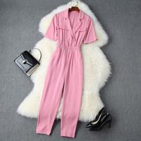 2020 Summer manga curta chanfrado-lapela rosa cor pura elástico da cintura Long Macacões Elegante Casual macacãozinho L10T11061