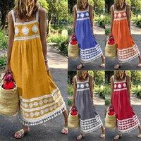 Yaz Kolsuz Askılar Artı boyutu elbise Kadın Yaz Boho Baskı Beach Holiday Elbise Askı Büyük Püskül Maxi Salıncak