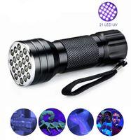 UV 21 LED-Taschenlampe tragbare Mini-Aluminium-Black Light Ultra Violet Taschenlampen UV-Lampen Anti-Fälschungserkennung UVfackel