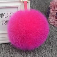 11 centimetri di lusso Fluffy reale sfera della pelliccia PomPom 12 colori genuina della pelliccia portachiavi in metallo dell'anello del pendente di fascino del sacchetto Fo-K045-rose