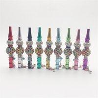 Cercle métal Buse jewellry narguilés Portable Conseils Hookah Porte-coloré Shisha Smoking plaqué or cristal inlays fumée de pipe 18mla C2