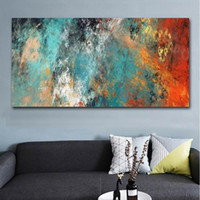 Large Size Abstract Wall Art Colorful Clouds Canvas Oil Pain...