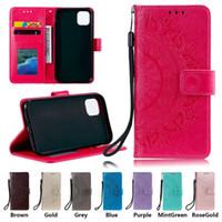 PU Porte-monnaie en cuir Téléphone pour iPhone 11 Pro X XR XS Max 7 8 Plus Samsung Galaxy S20 Ultra tournesol Totem embosser flip Stand Case Cover