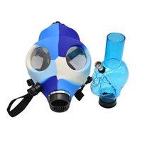 Tubulação de silicone de máscara de gás com acrílico fumar Bong Sólida Camo Cores Design Criativo Dabber para Concentrado de Erva Seco Cosplay Venda Quente