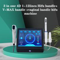 3 в 1 4D 1-12 линий Hifu ручка + V-MAX ручка + вагинального ручка HIFU вагинальные затягивая машина картридж 7 Чернила