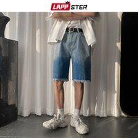 LAPPSTER verano de los hombres coreanos del teñido anudado pantalones vaqueros para hombre 2020 japonesa Streetwear Hip Hop pantalones cortos de mezclilla Casual Male Sweatshorts Negro