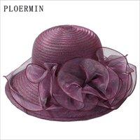 PLOERMIN Organza chapéus de sol Mulheres da flor do casamento de Verão Caps Feminino elegante Igreja UV florais Chapéus 2019 de Moda de Nova Y200619