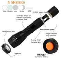 Super brilhante lanterna tática recarregável 18650 Battery1000 Lumens Cree LED Lanternas 5 modos Luz portátil da lâmpada da tocha