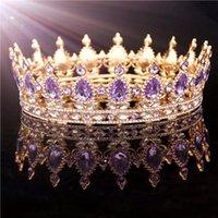 Dorado púrpura rey rey corona nupcial para mujeres tocado concurso de fiesta boda tiaras y coronas accesorios de joyería de pelo Y200727