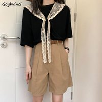 Women Sets Chic Lace Patchwork Korean Fashion Leisure Femme Outfits College Basic Top Tee High Waist Wide-leg Simple Trouser New