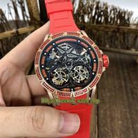Alta Qualidade EXCALIBUR SPIDER Esqueleto Dial automático RDDBEX0406 Mecânica Mens Watch para fora congelado Rose Gold Diamante caso de borracha Desporto Relógios