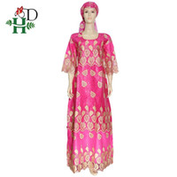 H&D Plus Size African Dress For Women South Africa Women Dashiki Clothes Embroidery Bazin Lace Dresses Maxi Dress With Headscarf