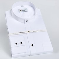 Men' s Banded Collar Long Sleeve Solid Dress Shirts Sing...