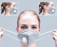 KN 95% Фильтр маска многоразового дыхания Респиратор клапан 6 слой Защитная маска Дизайнерские маски для взрослых Мода Black Face Shield DHL