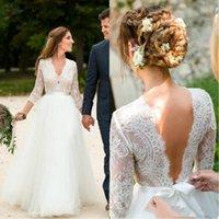 A linha de vestidos de casamento País 2020 V Neck manga comprida até o chão Lace Garden Beach vestidos de noiva vestido de novia