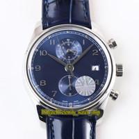 Neue Top-Version YLF Portugieser Chronograph Klassik 390303 Cal.89361 Automatische 28800 Uph Blau Dial Herrenuhr Sapphire Leder-Sport-Uhren