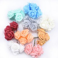 30 / 60pcs 4cm Multicolor Artificial PE Foam Rose Flores para Bridal Partido Festival Bouquet Wedding DIY falsificados decoração de flores Supplies