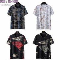 Boy T Gömlek Erkekler Yaz Top Gazete Kısa Kollu Tişörtleri Boy Artı 6XL 8XL 9XL 10XL Tee Gömlek Erkek Buz Ipek Tops VHT2 #