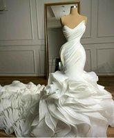 2021 Rüschen Organza Brautkleider Brautkleider Falten Sweetheart Chapel Zug Wunderschöne Nigerianer Arabische Ehe Robe de Mariee
