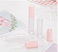 Tubos de lipgloss cor-de-rosa claros geados tubos transparentes do labelo transparente com tampa cor-de-rosa Redonda cosméticos redondos frasco de lustro