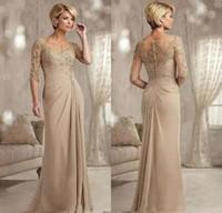 Sirena Madre champán medias mangas de encaje de los vestidos Birde con apliques de barrer de tren gasa vestidos de noche formal