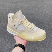 2021 Yeni Sürüm Kapalı Otantik 4 SP Erkekler Basketbol Ayakkabıları Muslin Beyaz Siyah Zapatos Yelken Bred CV9388-100 Kutusu Boyutu 36-46