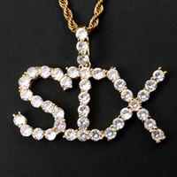 18K желтое позолоченное покрытие со льдом из CZ пользовательские названия писем кулон ожерелье с круглосуточной веревочной цепочкой для мужчин женщин красивый подарок