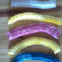 일회용 플라스틱 목욕 캡 이발 및 염색 모자 줄무늬 샤워 모자 방수 오일 배수 헤드 기어 욕실 호텔 용품 3mf B2